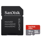 SanDisk microSDHC Ultra 16GB 98MB/s CL10 A1 + SD adapter