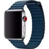 Apple Watch 42mm Leren Horlogeband Blauw Large