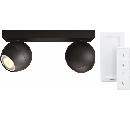Philips Hue Buckram 2-Spot Zwart met Dimmer