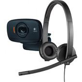 Logitech B525 HD Webcam + USB Headset H570e Stereo