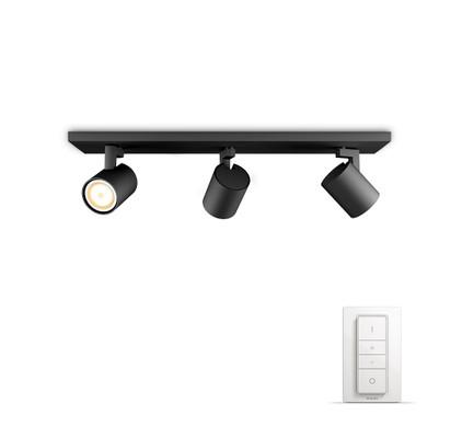 philips hue runner 3 spot zwart met dimmer coolblue alles voor een glimlach. Black Bedroom Furniture Sets. Home Design Ideas
