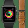 Apple Watch Series 3 42mm Space Gray Black Strap + DBramante1928 Leather Strap Brown