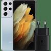 Samsung Galaxy S21 Ultra 128GB Zilver 5G + Samsung Snellader Zonder Kabel 25W