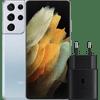 Samsung Galaxy S21 Ultra 256GB Zilver 5G + Samsung Snellader Zonder Kabel 25W