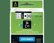 Dymo D1 Naamlabels Zwart-Wit (12 mm x 7 m)