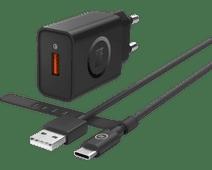 BlueBuilt Oplader met 1,5m Usb C Kabel 18W Quick Charge 3.0 Zwart