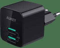 Aukey Usb A Thuislader met 2 Poorten 4,8A Zwart