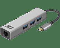 ACT USB-C 3-poorts hub met ethernet