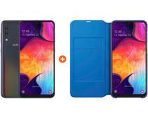 Samsung Galaxy A50 Black + Samsung Wallet Book Case Black/Blue