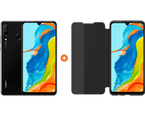 Huawei P30 Lite 128GB Zwart + P30 Lite View Flip Cover Book Case Zwart