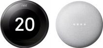 Nest Learning Thermostat V3 Premium Black + Google Nest Mini White