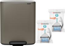 Brabantia Bo Pedal Bin 2x 30 Liter Platinum + Trash Bags (80 units)