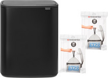 Brabantia Bo Touch Bin 60L Matte Black + Trash Bags (60 units)