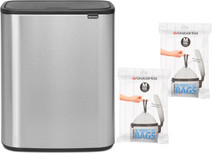 Brabantia Bo Touch Bin 60L Steel Fingerprint Proof + Trash Bags (60 units)