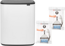 Brabantia Bo Touch Bin 60L White + Trash Bags (60 units)