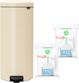Brabantia NewIcon Pedal Trash Can 30L Almond + Trash Bags (80 units)