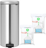 Brabantia NewIcon Pedal Trash Can 30L Matte Stainless Steel + Trash Bags (80 units)