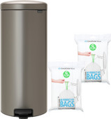 Brabantia NewIcon Pedal Trash Can 30L Platinum + Trash Bags (80 units)