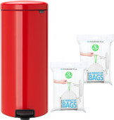 Brabantia NewIcon Pedal Trash Can 30L Red + Trash Bags (80 units)