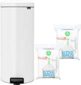 Brabantia NewIcon Pedal Trash Can 30L White + Trash Bags (80 units)