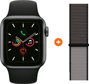 Apple Watch Series 5 44mm Space Gray Black Sport Band + Nylon Sport Loop Anchor Gray