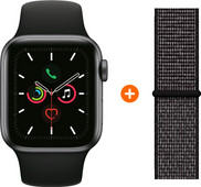 Apple Watch Series 5 44mm Space Gray Black Sport Band + Nylon Sport Loop Black