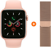 Apple Watch Series 5 44mm gold Pink Sport Band + Watch Strap Milanese Gold