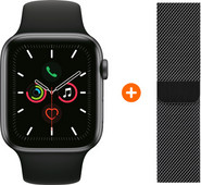 Apple Watch Series 5 40mm Space Gray Black Sport Band + Watch Strap Milanese Space Black