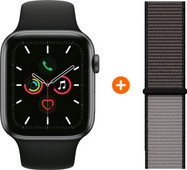 Apple Watch Series 5 40mm Space Gray Black sport Band + Nylon Sport Loop Anchor Gray
