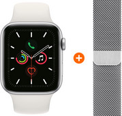 Apple Watch Series 5 40mm Silver White Sport Band + Milanese Silver