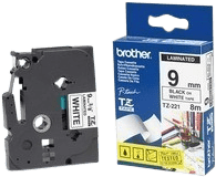 Brother TZ-221 Black on White (9 mm x 8 m)