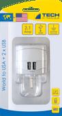 Travel Blue World Adapter - USA + USB