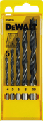 DeWalt 5-piece wood spiral drill set