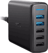 Anker PowerPort Speed Charger 5 USB Ports 18W Quick Charge 3.0 Black