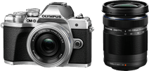 Olympus OM-D E-M10 Mark III Body Zilver + 14-42mm Zilver + 40-150mm Zwart