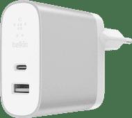 Belkin Dual Oplader Zonder Kabel 2 Usb Poorten 27W Power Delivery 3.0 Wit