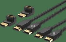 BlueBuilt HDMI Kabel Nylon Duo pack 1,5 Meter Zwart + 90° Adapter