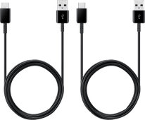 Samsung USB-A to USB-C Cable 1.2m Plastic Black Duo Pack