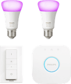Philips Hue White & Colour Starter Pack E27 met 2 lampen + 1 dimmer