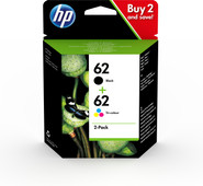 HP 62 Cartridge Combo 2 Pack 4 Colors (N9J71AE)