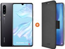 Huawei P30 Black + Azuri Wallet Magnetic Book Case Black