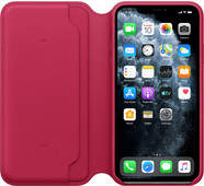 Apple iPhone 11 Pro Max Leather Folio Framboos