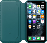 Apple iPhone 11 Pro Max Leather Folio Pauwenblauw