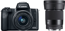 Canon EOS M50 Zwart + 15-45mm IS STM + Sigma 30mm f/1.4 DC DN