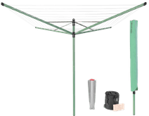 Brabantia Lift-O-Matic Umbrella Drying Rack 50 Meters + Protective Cover + Clothespin Bag