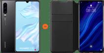 Huawei P30 Black + P30 Flip Cover Book Case Black