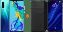 Huawei P30 Blue + P30 Flip Cover Book Case Black