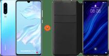 Huawei P30 Wit/Paars + P30 Flip Cover Book Case Zwart