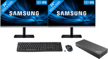 2x Samsung LS24R650 + Lenovo USB-A & C Dock + Logitech Wireless Keyboard and Mouse QWERTY