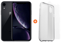 Apple iPhone Xr 128 GB Zwart + Otterbox Clearly Protected Skin Alpha Glass